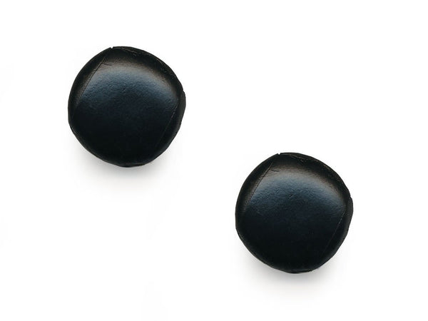 Round Leather Buttons - Black - 1048