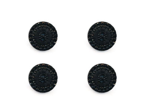 Round Textured Design Buttons - Black - 1049