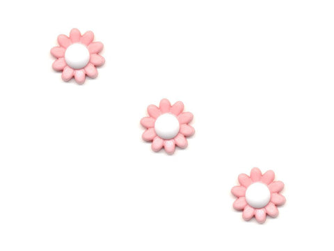 Flower Buttons - Pink & White - 104-Deramores
