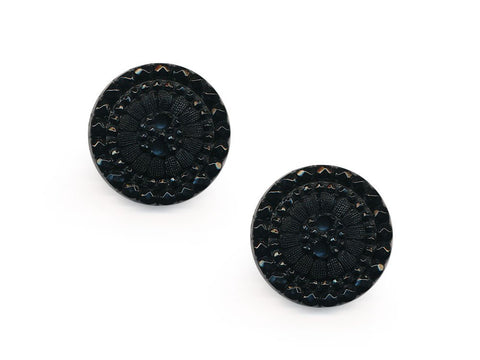 Round Textured Design Buttons - Black - 1050