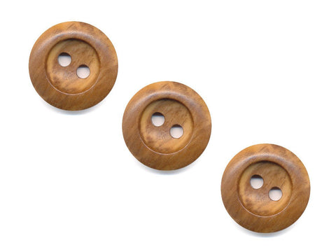 Round Thick Rimmed Wooden Buttons - 1060