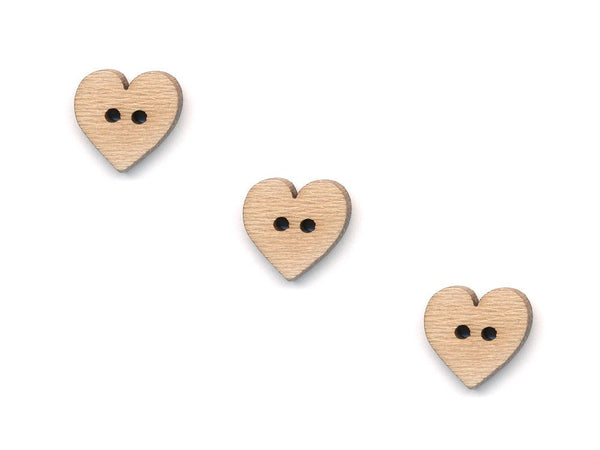Heart Shaped Buttons - Wood - 103-Deramores