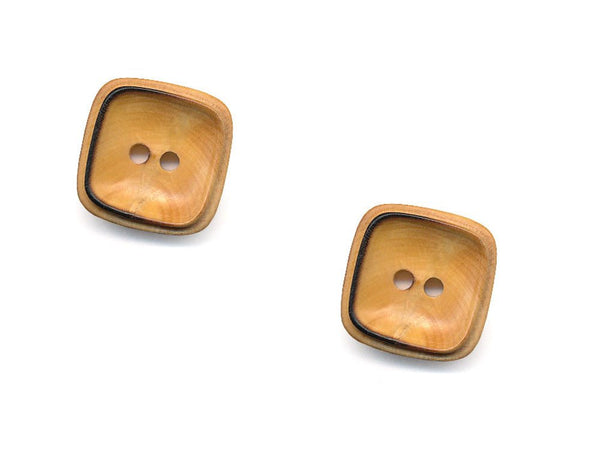 Square Rimmed Wooden Buttons - 1071