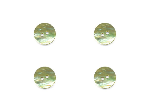 Round Shell Buttons - Green - 1091