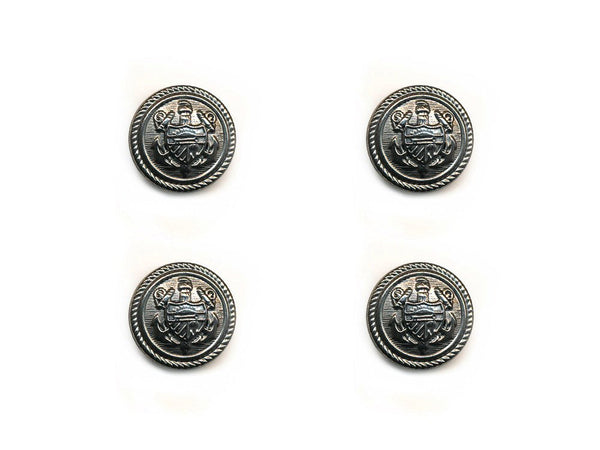 Shield Detail Metal Buttons - Silver - 134