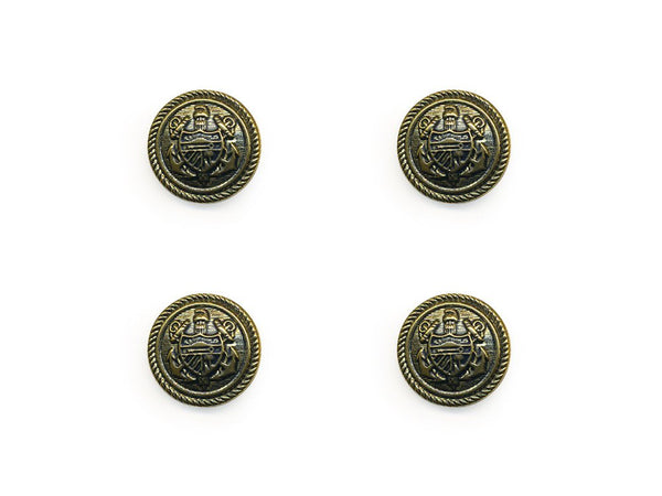 Shield Detail Metal Buttons - Gold - 138