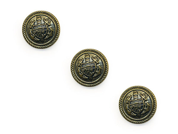 Shield Detail Metal Buttons - Gold - 139