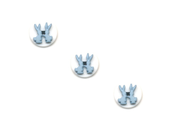 Round Rabbit Design Novelty Buttons - White & Blue - 147