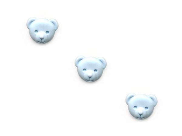 Teddy Bear Head Shaped Buttons - Blue - 154
