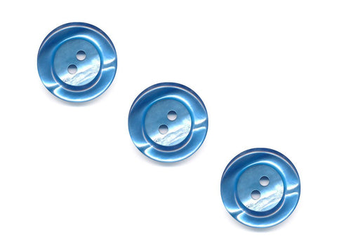 Round Rimmed Pearl Effect Buttons - Blue - 163