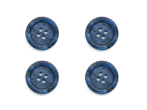 Round Rimmed Shell Effect Buttons - Blue - 167
