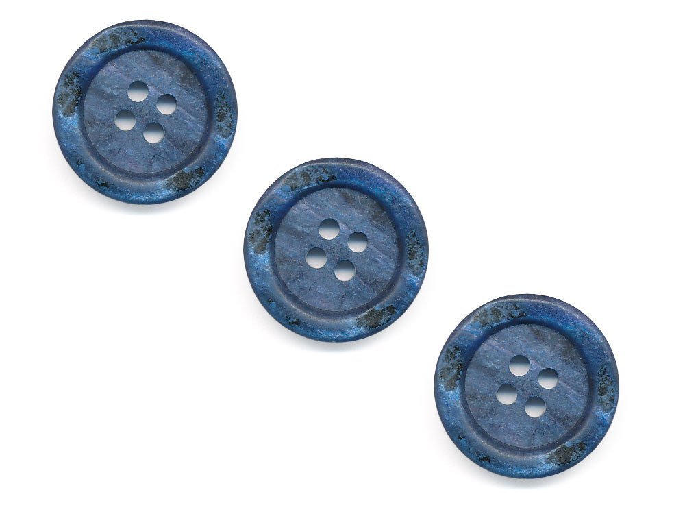 Round Rimmed Shell Effect Buttons - Blue - 168