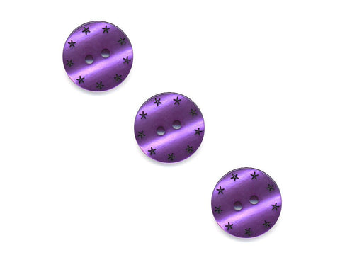 Round Pearl Effect Star Print Buttons - Purple - 185