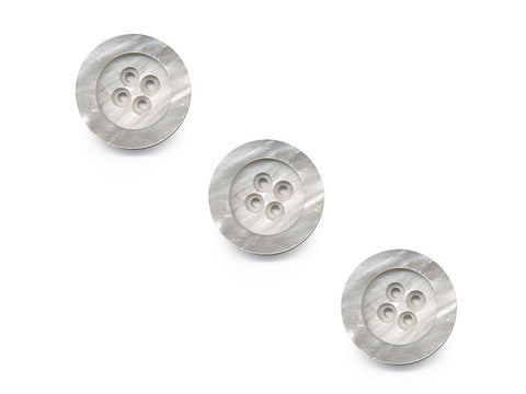 Round Rimmed Shell Effect Buttons - Grey/Silver - 190