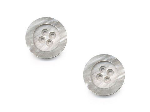 Round Rimmed Shell Effect Buttons - Grey/Silver - 191