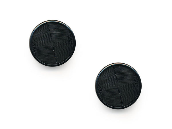 Round Plastic Textured  Button - Black - 210