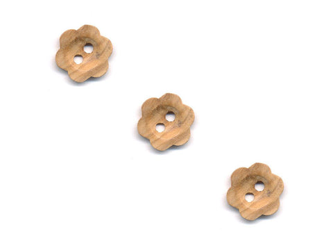 Wooden Flower Shaped Buttons - 246