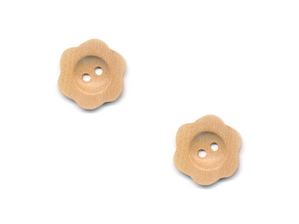 Flower Buttons - Wood - 104-Deramores