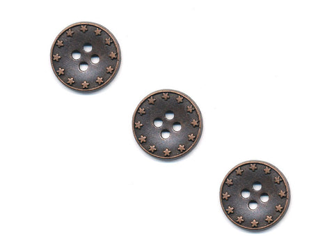 Round Metal Star Print Buttons - Bronze - 270