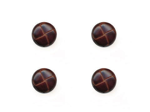 Round Leather Effect Buttons - Brown - 274