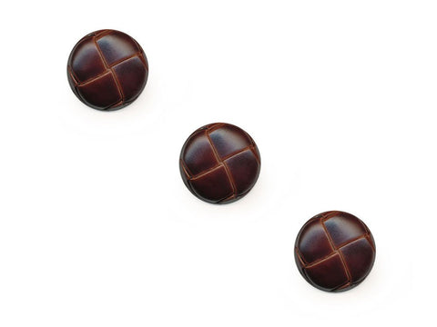 Round Leather Effect Buttons - Brown - 275