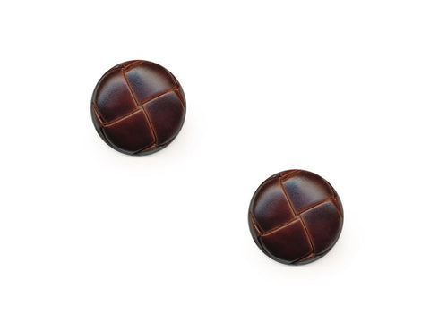 Round Leather Effect Buttons - Brown - 276
