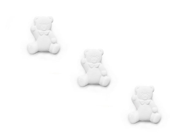 Teddy Bear Shaped Buttons - White - 287