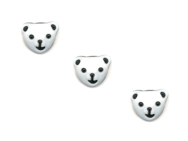Bear Face Shaped Buttons - White & Black - 292