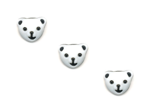 Bear Face Shaped Buttons - White & Black - 292-Deramores