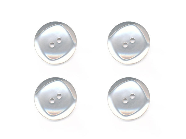 Round Pearlescent Square Rimmed Buttons - White - 293