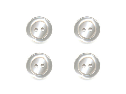 Pearlescent Rimmed Round Buttons - Cream - 296