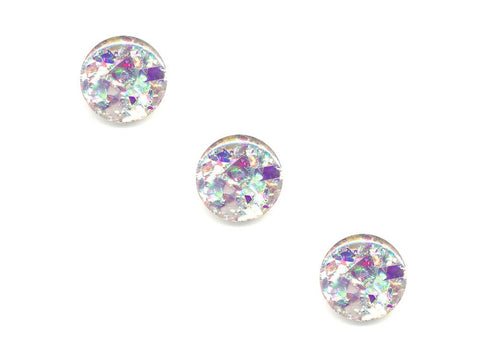 Round Glitter Shatter Effect Buttons - Silver/Purple - 300