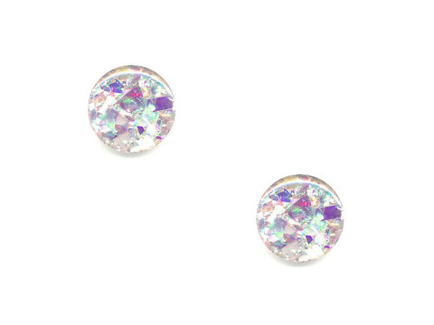 Round Glitter Shatter Effect Buttons - Silver/Purple - 301