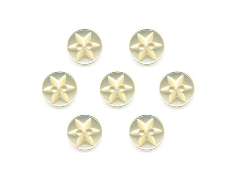 Round Flower Effect Buttons - Yellow - 084