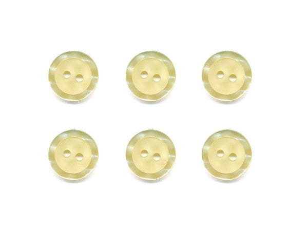 Round  Buttons with Pearlescent Rim - Yellow - 336