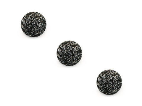 Round Textured Design Buttons - Silver/Black - 343