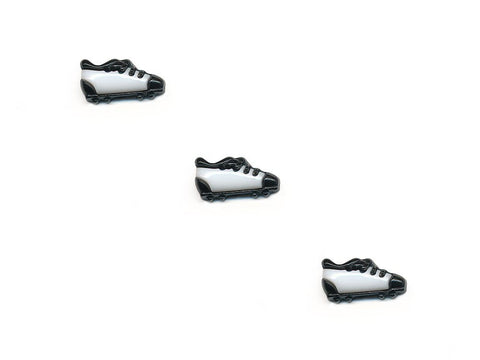 Football Boot Shaped Buttons - Black/White - 351-Deramores