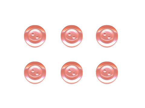 Pearlescent Rimmed Round Buttons - Pink - 360