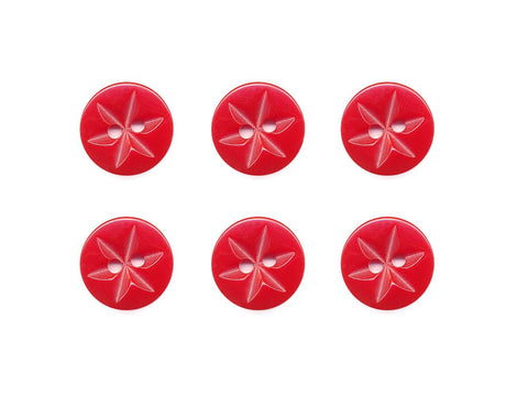 Round Flower Effect Buttons - Red - 379