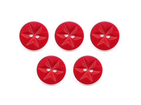 Round Flower Effect Buttons - Red - 380
