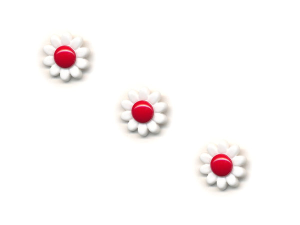 Flower Buttons - White & Red - 382-Deramores