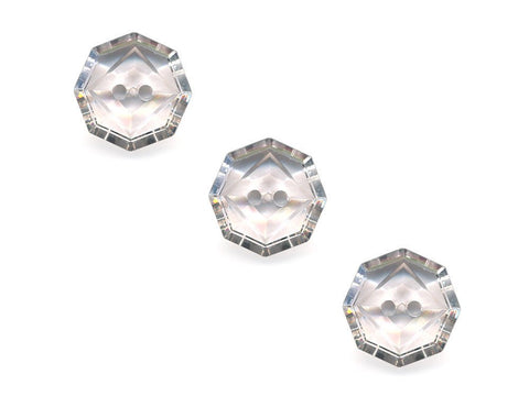 Transparent Octagonal Square Rimmed Buttons - Clear - 405