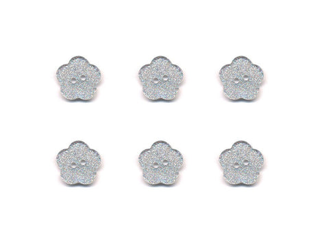 Transparent Flower Shaped Glitter Buttons - Silver - 410