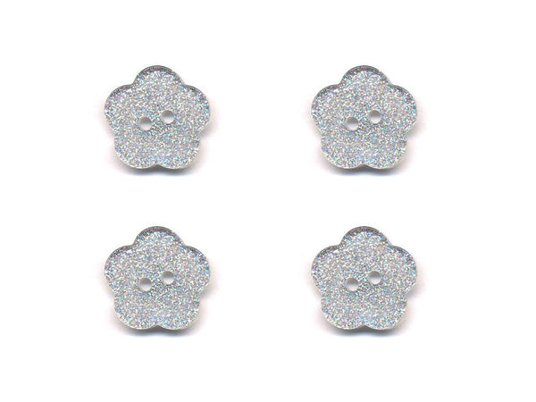 Transparent Flower Shaped Glitter Buttons - Silver - 412