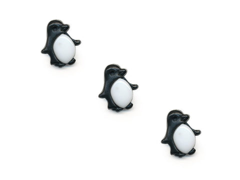 Penguin Shaped Buttons - Black & White - 423