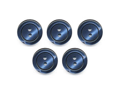 Pearlescent Rimmed Round Buttons - Blue - 429