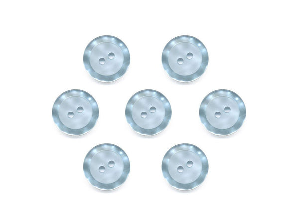 Round Buttons with Pearlescent Rim - Blue - 433