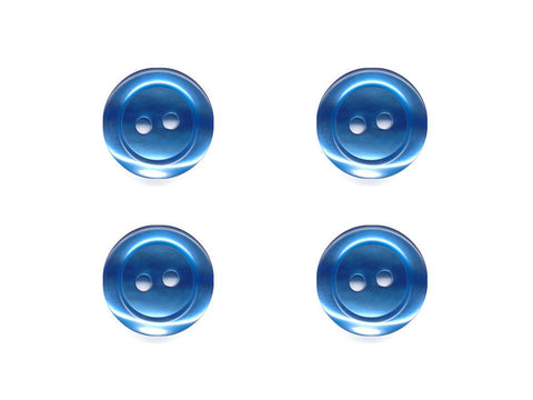 Pearlescent Rimmed Round Buttons - Blue - 437