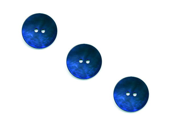 Round Shell Buttons - Blue - 443