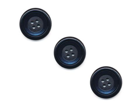 Round Double Rimmed Plain Buttons - Blue - 456